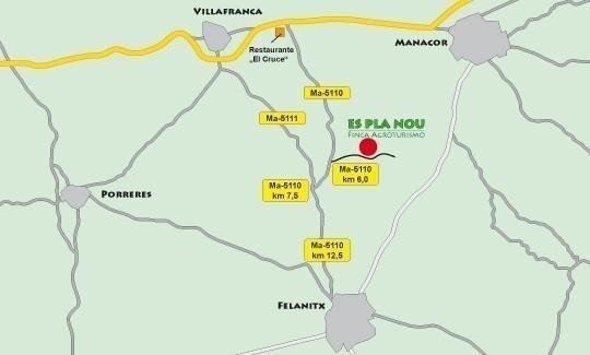 """von Manacor/Vilafranca: Beim Restaurant """"Es Cruce"""" auf die Ma-5110, bei km 6 nach links in den Feldweg. Nach ca. 1 km nach links in die Einfahrt. Von Felanitx: Auf die Ma-5110 Richtung Vilafranca. Bei km 7,5 scharf nach rechts Richtung Manacor. Bei km 6 nach rechts in den Feldweg."""